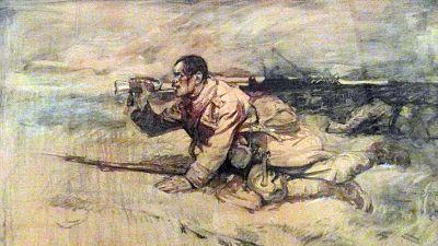 """Reproducere parţială din tabloul """"Ultimul atac al gornistului rănit"""" a pictorului Ioan Stoica Dumitrescu"""