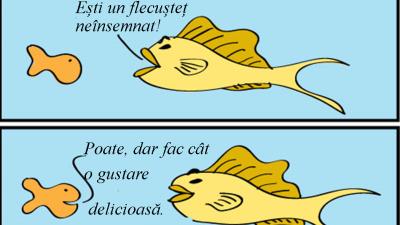Lanț trofic - satiră: pestele mic si pestele mare